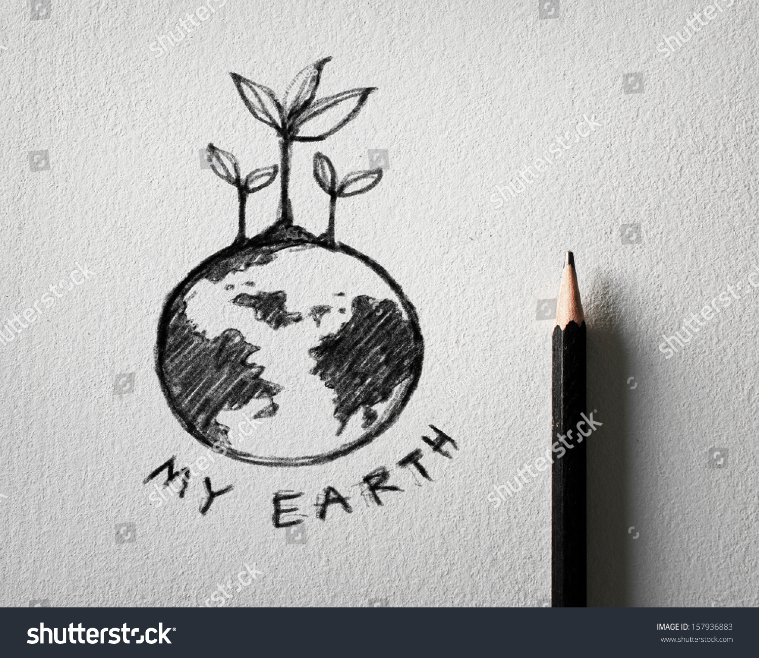 Pencil sketch of earth concept on white paper