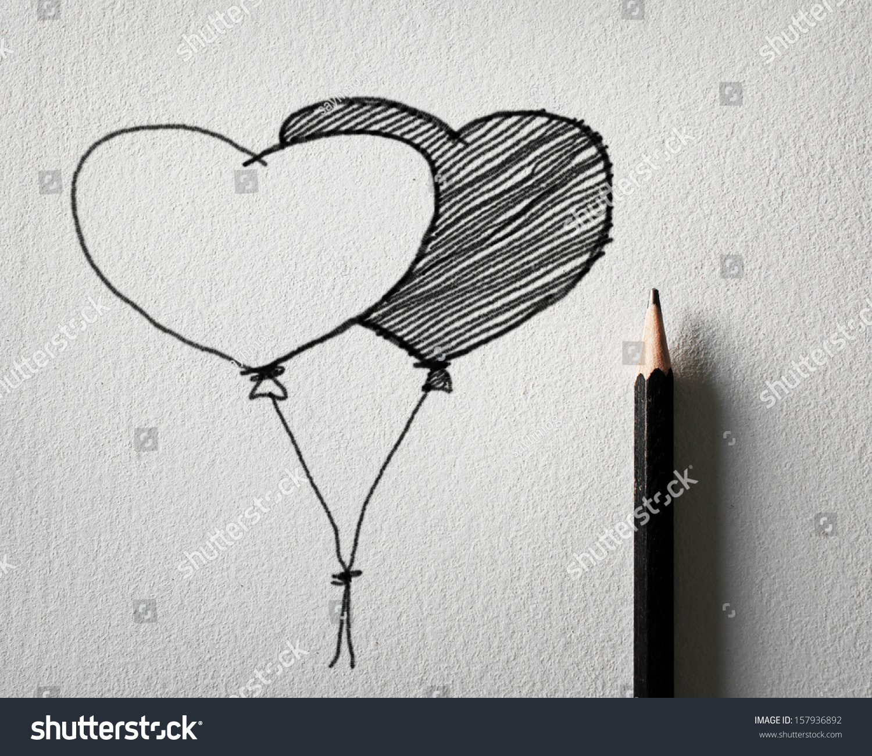 Royalty Free Stock Illustration Of Pencil Sketching Heart Balloon