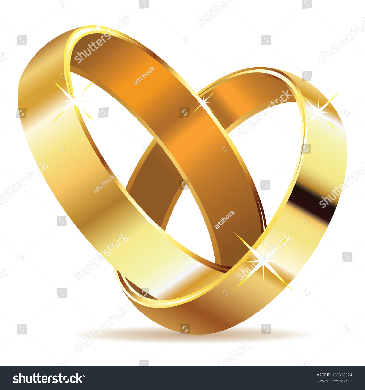 Two Wedding Rings In Shape Of Heart On White Background