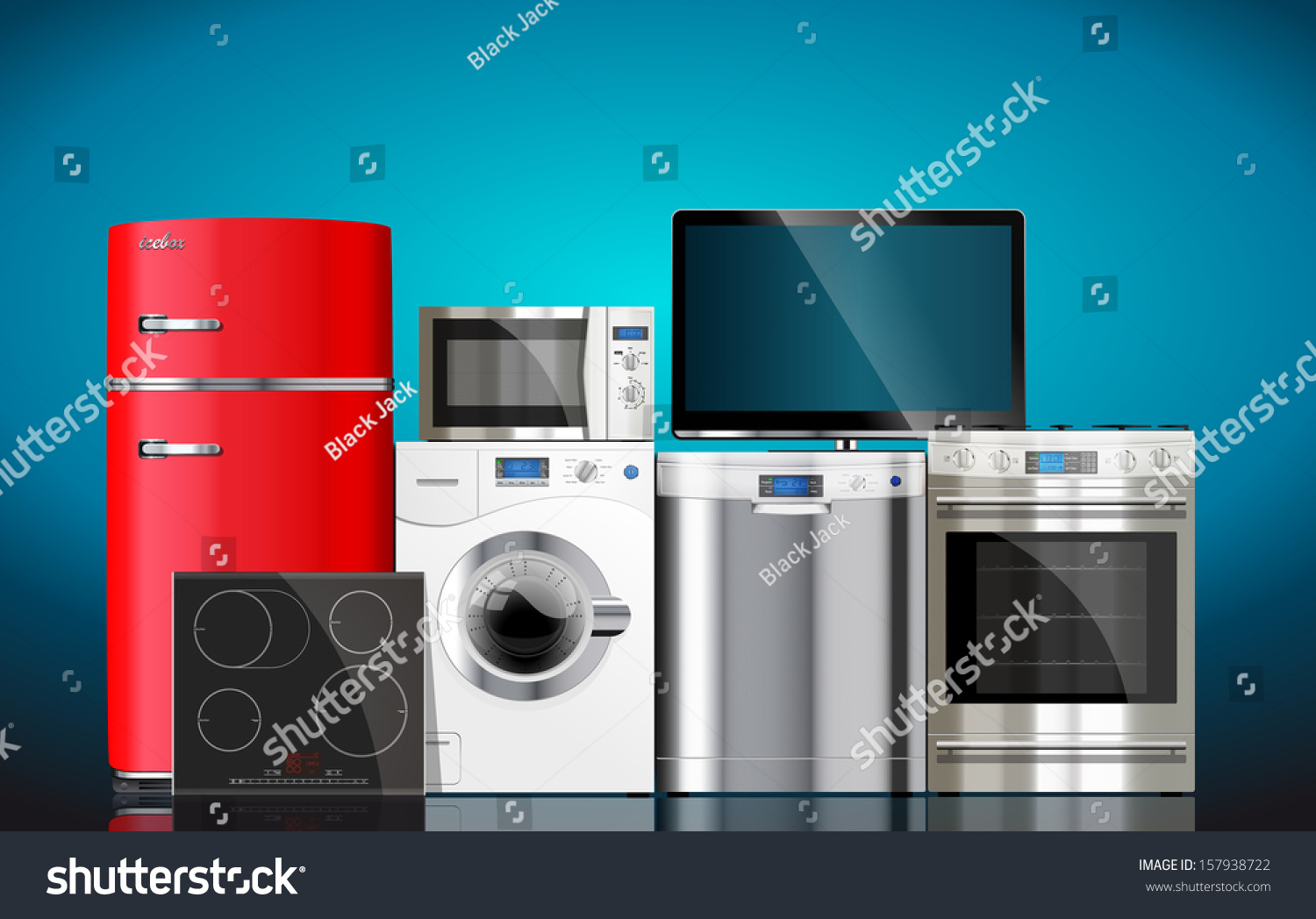 Kitchen House Appliances Microwave Washing Machine Stock Vector ...