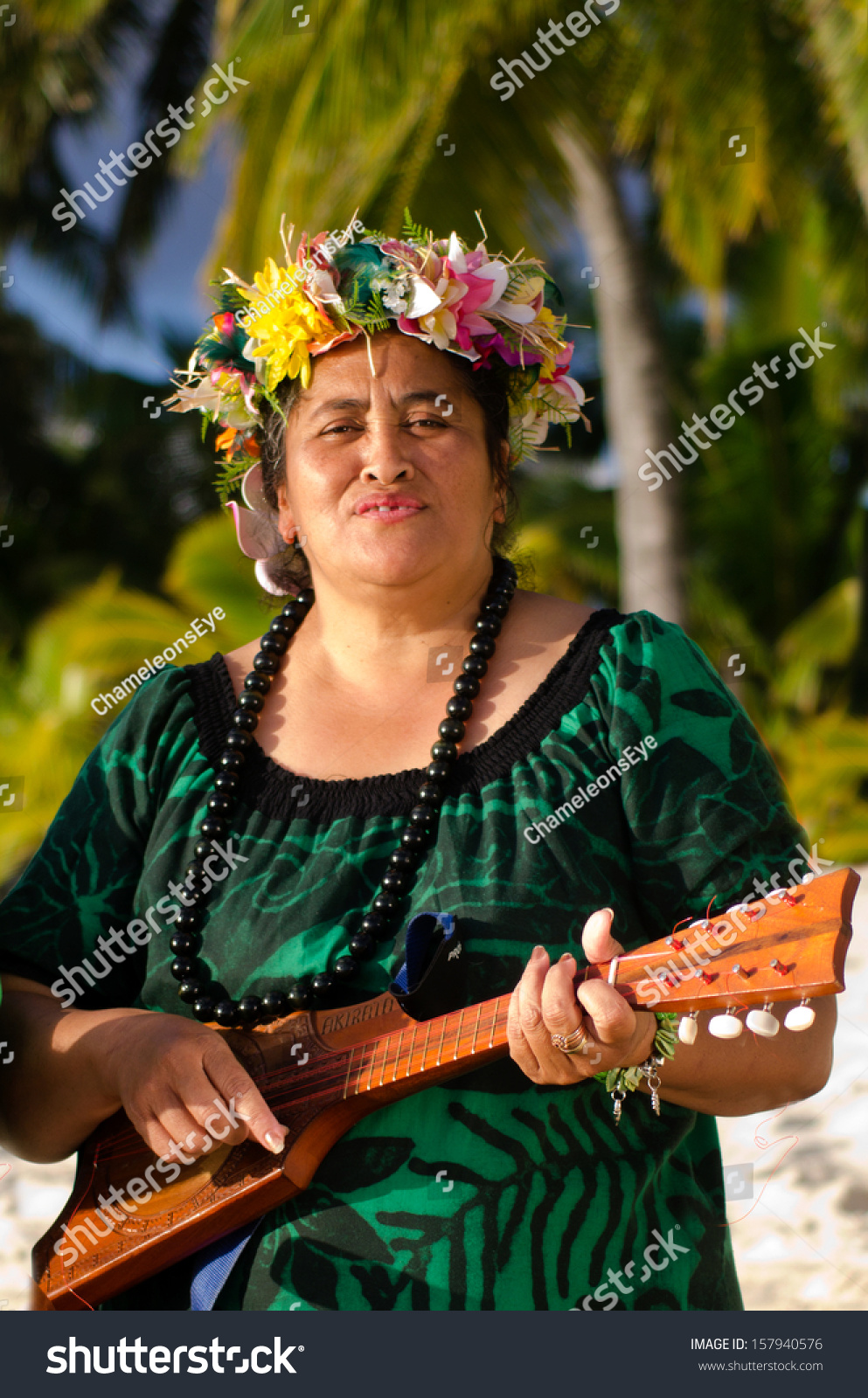 portrait mature polynesian pacific islanders woman stock photo