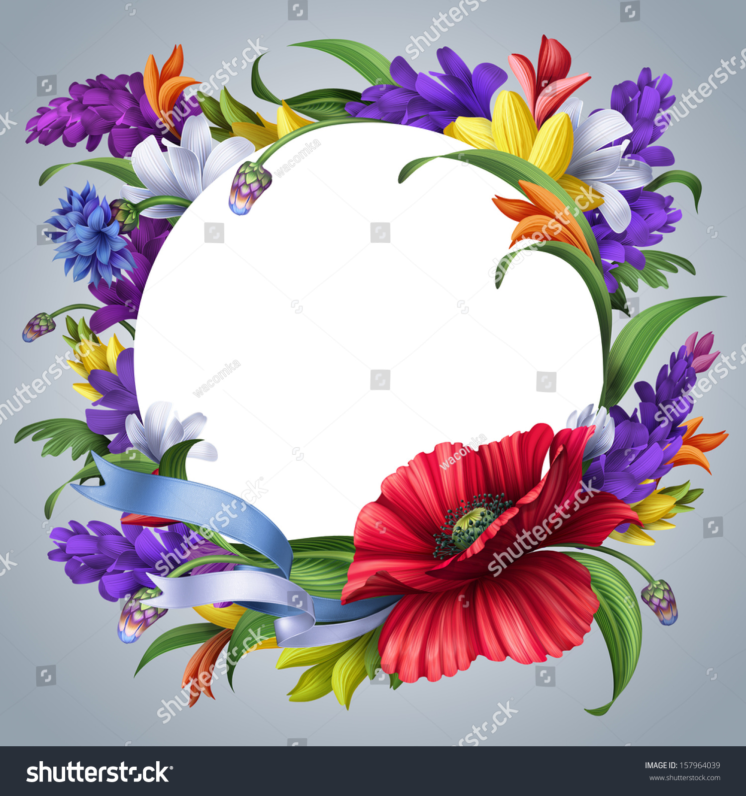 Round Greeting Card Floral Frame Blank Stock Illustration 157964039 ...