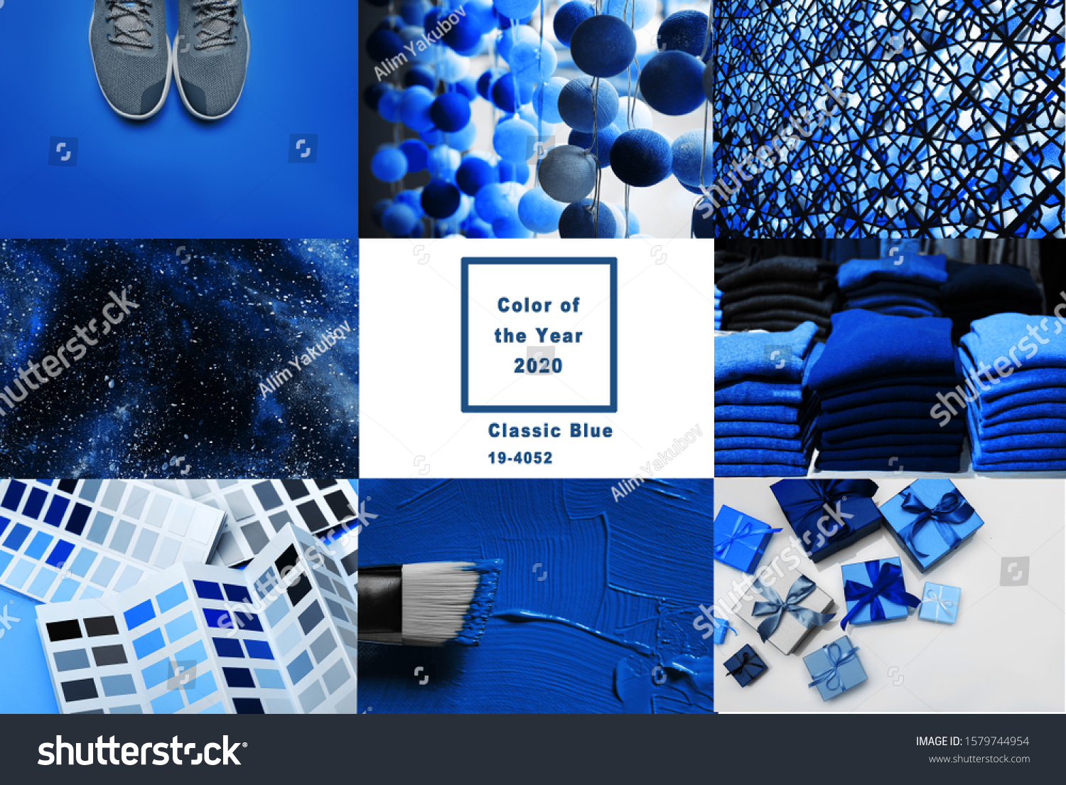 Collage with Classic Blue Pantone color of the year 2020   #1579744954