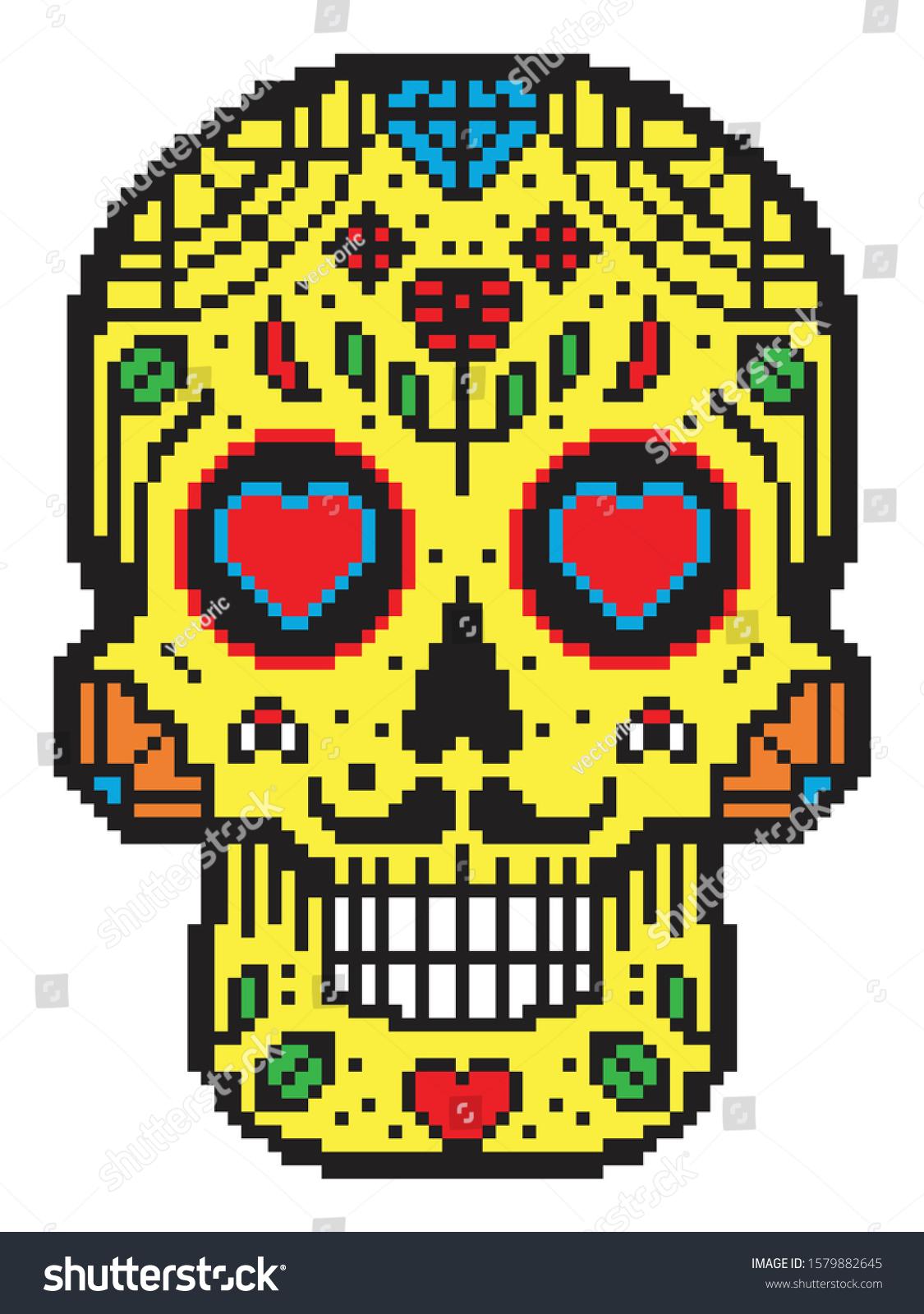 Pixel Art Black White Mexican Sugar Stock Vector Royalty Free 1579882645
