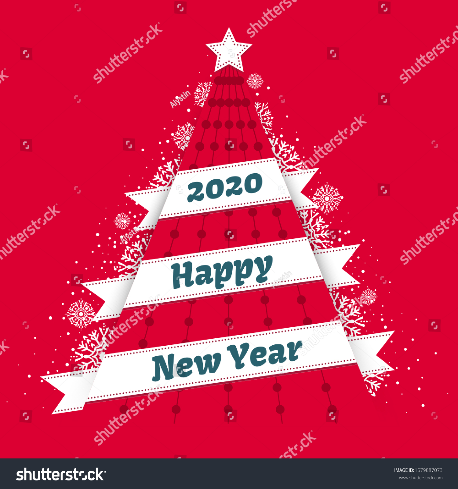 Abstract Triangular Red Christmas Tree White Stock Vector Royalty Free 1579887073