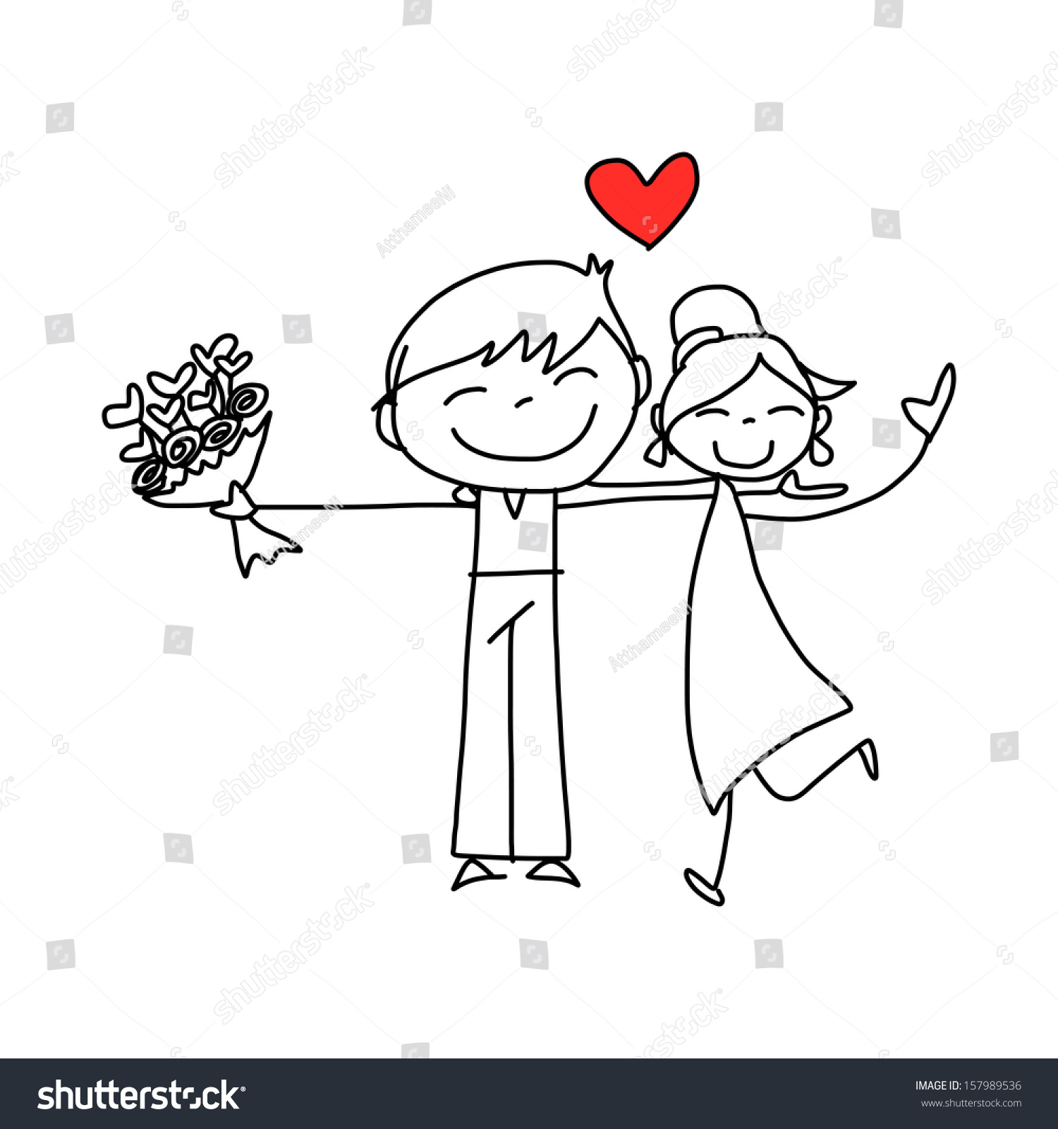 hand drawing cartoon character happy lovers wedding stock