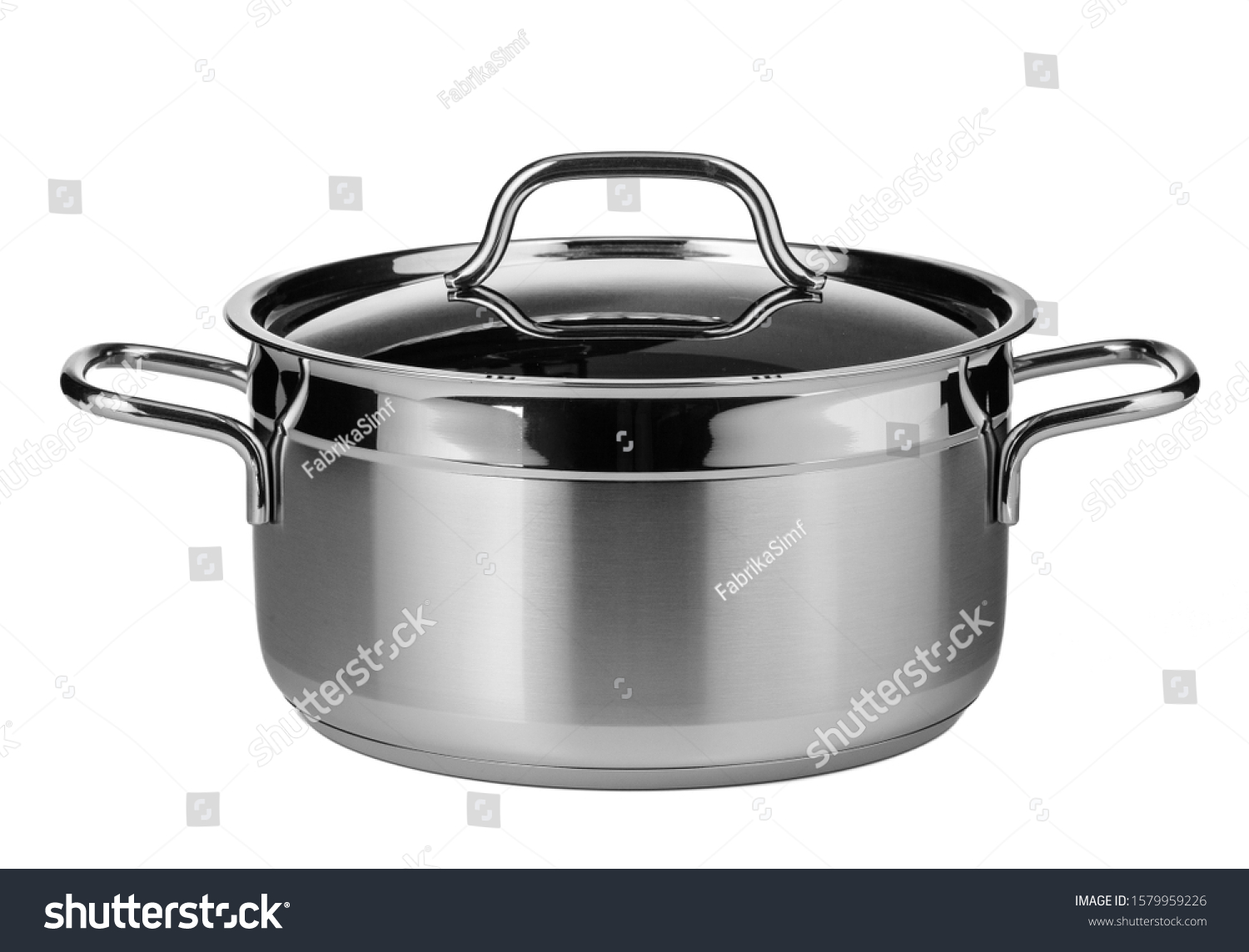 Stainless steel pot isolated on white background #1579959226