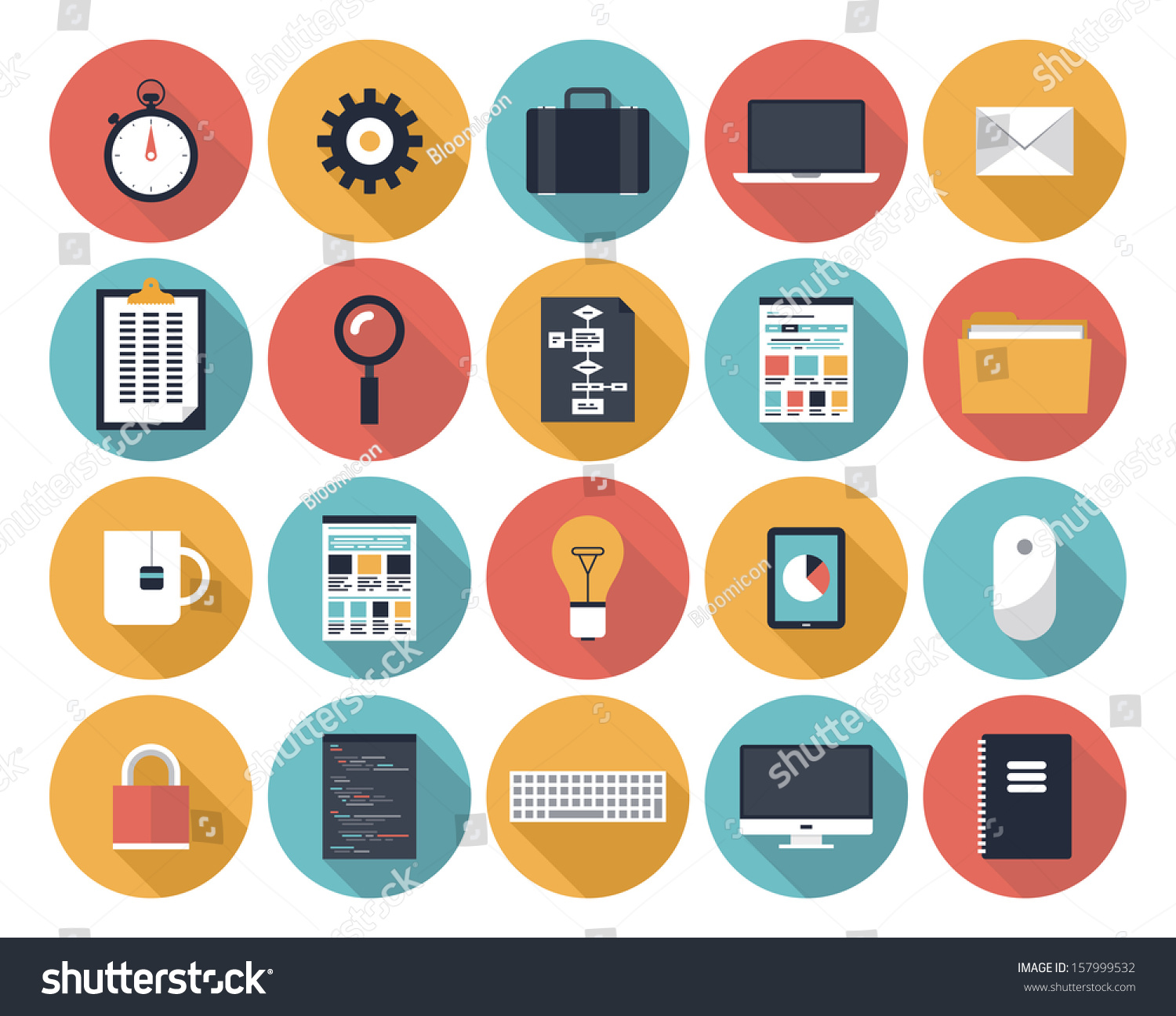 Modern colors web design - Modern Flat Icons Vector Collection With Long Shadow Effect In Stylish Colors Of Web Design Objects