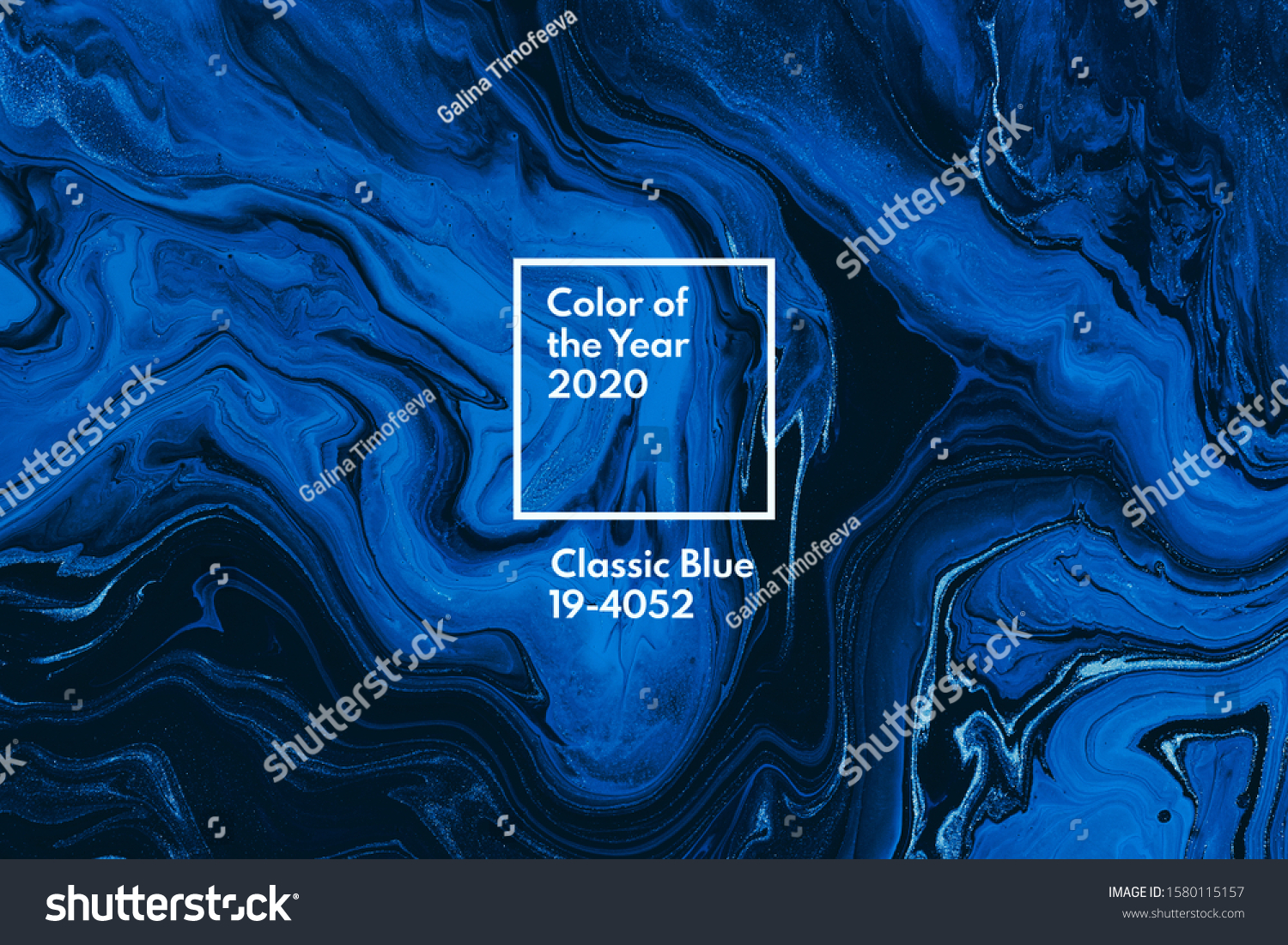 Classic blue color of the year 2020. Bright blue and white marble background. Liquid stripy minimalistic trendy paint texture. Abstract fluid art. Acrylic and oil flow modern creative backdrop #1580115157