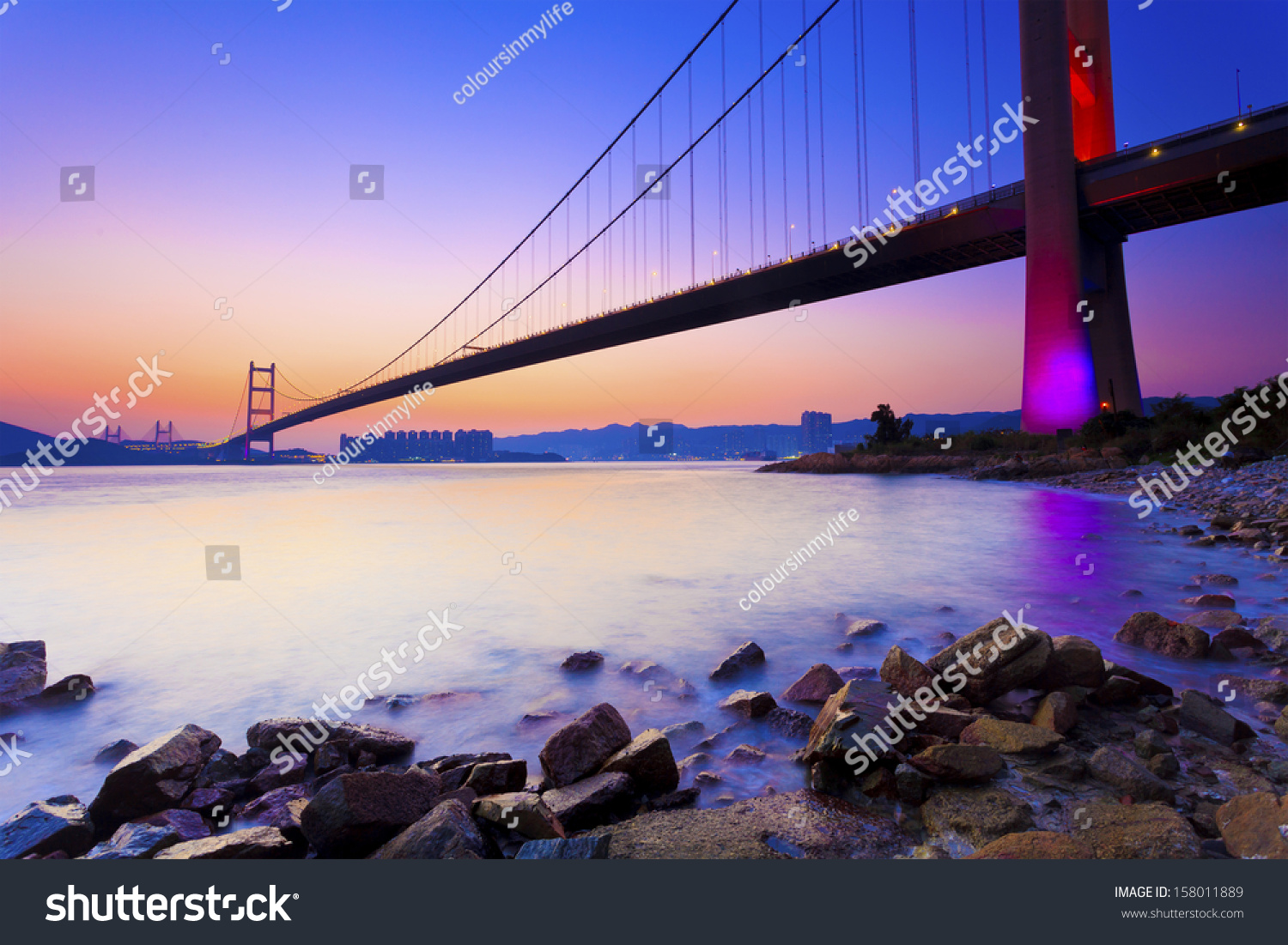 Sunset at modern bridge along coast #158011889