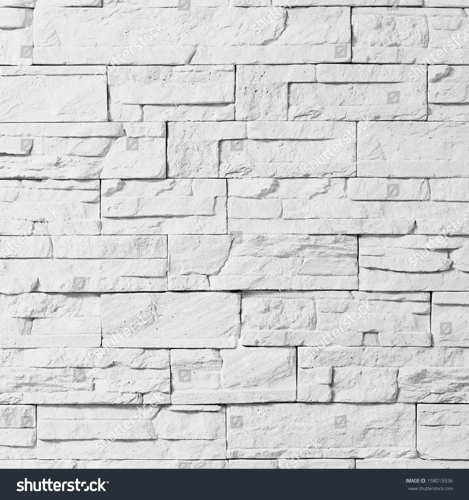 Enjoyable White Stone Brick Decorative Wall Stock Photo 158015936 Shutterstock Inspirational Interior Design Netriciaus
