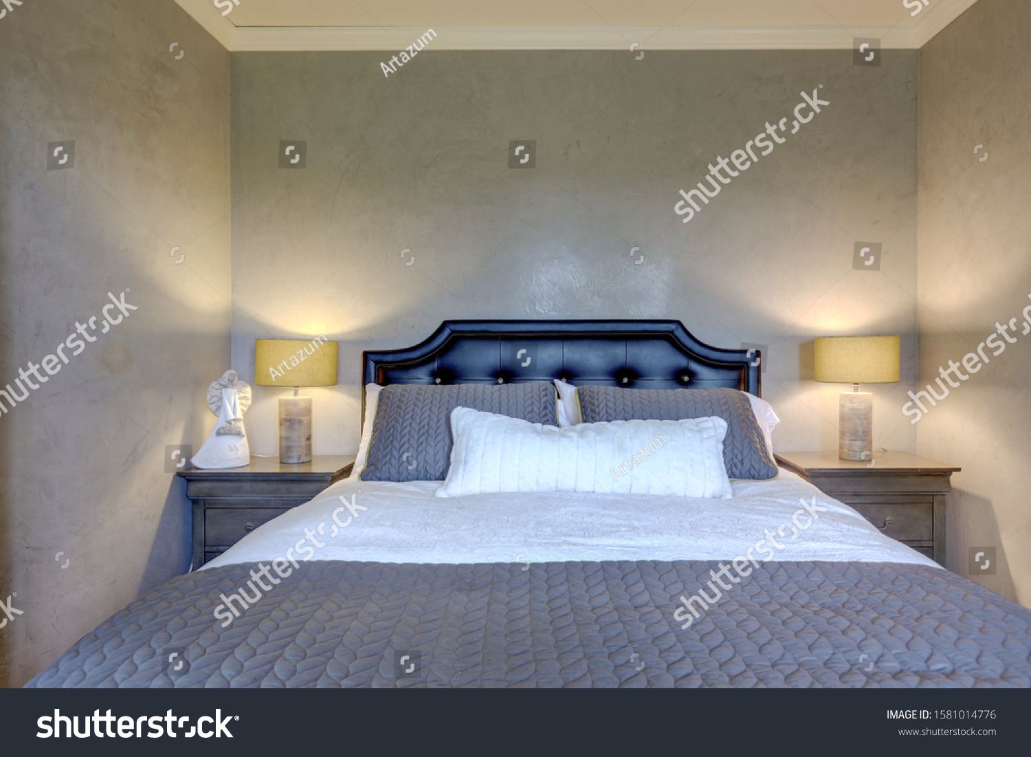 Luxury Cozy Elegant Guest Bedroom Black Stock Photo Edit Now 1581014776