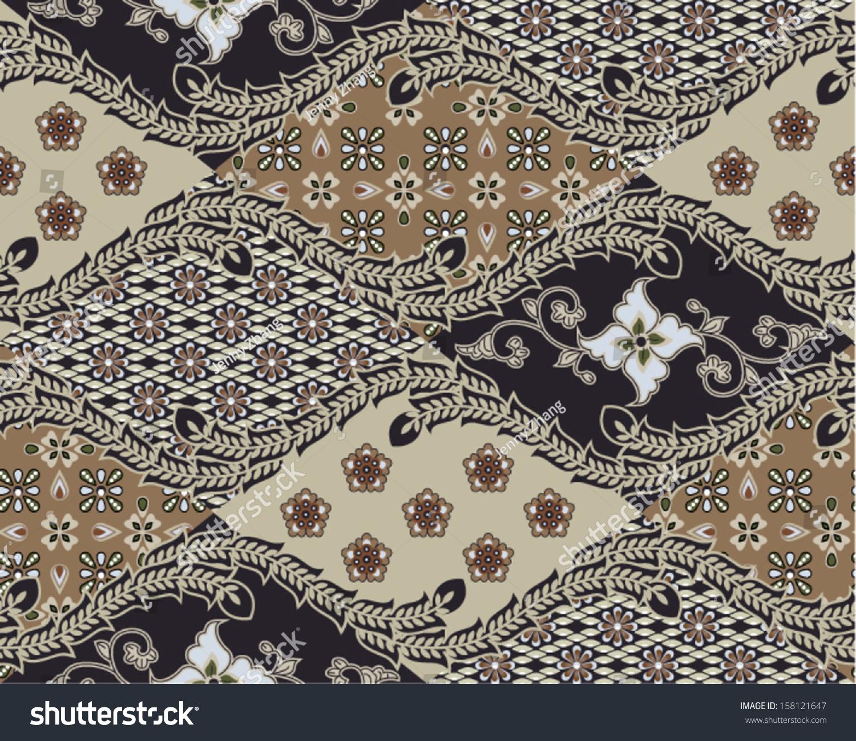 Javanese Batik Seamless Pattern Set B1 Stock Vector