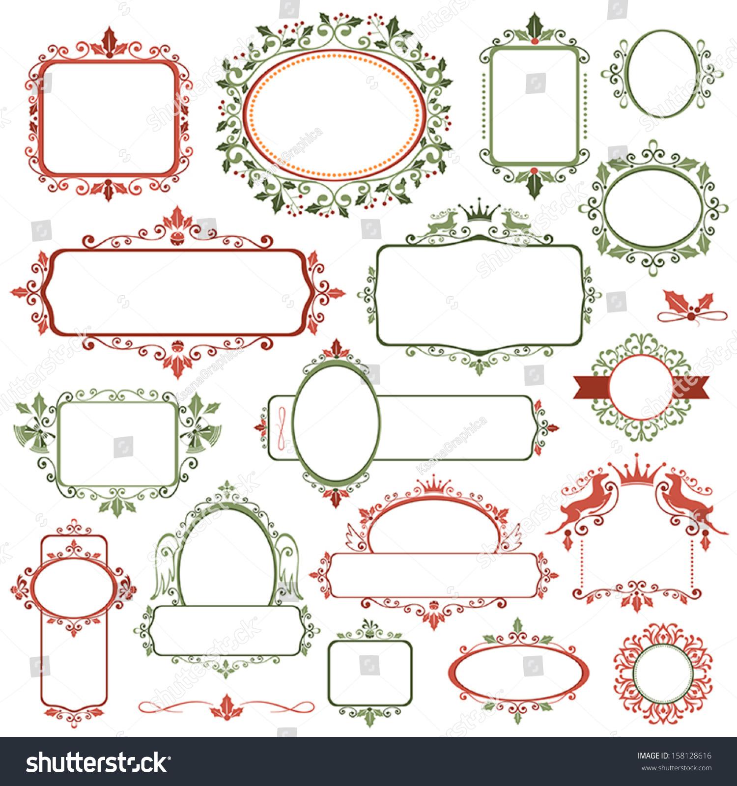 Set Decorative Christmas Frames Labels Stock-Vektorgrafik ...