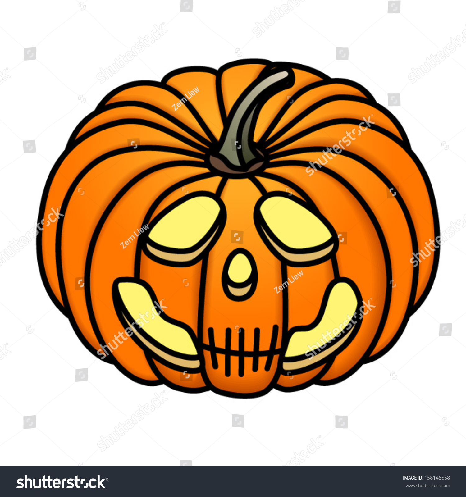 Sad Skull Jackolantern Stock Vector Royalty Free 158146568