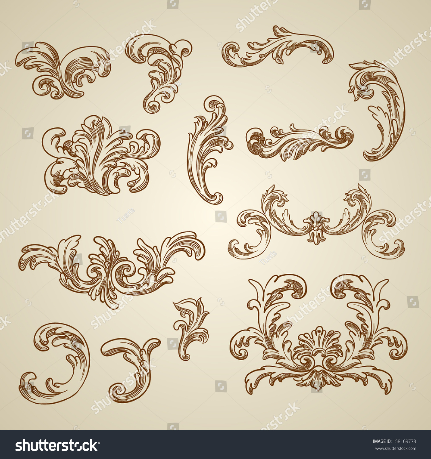 Antique Scroll Vector: Royalty-free Vector Vintage Baroque Engraving Floral