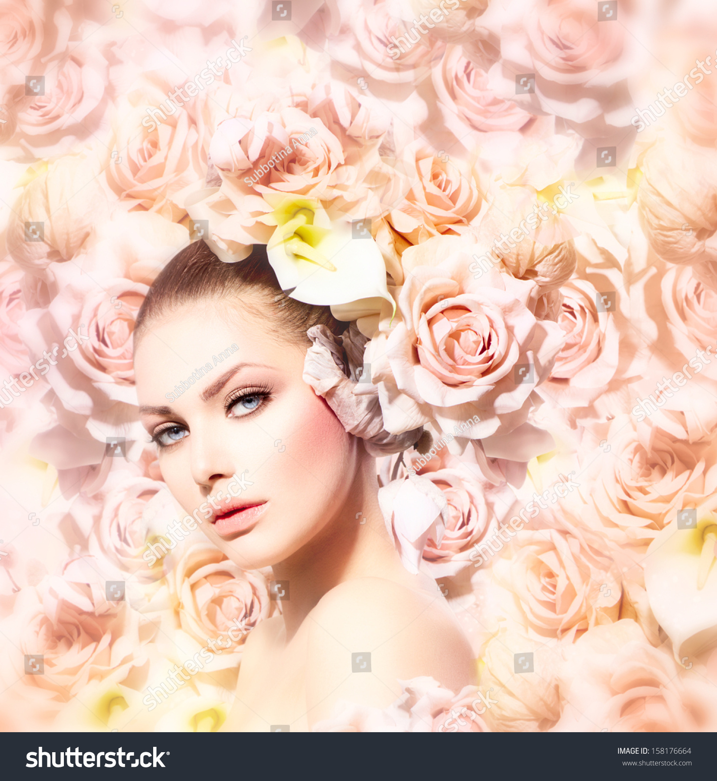 Fashion Beauty Model Girl Pink Roses Stock Photo 158176664
