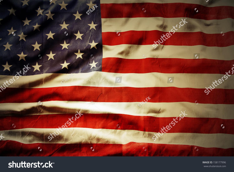 Closeup of grunge American flag #158177996