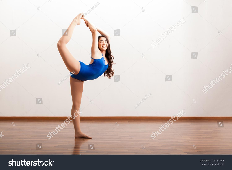 Beautiful Ballerina Practicing Dance Routine Smiling Stock