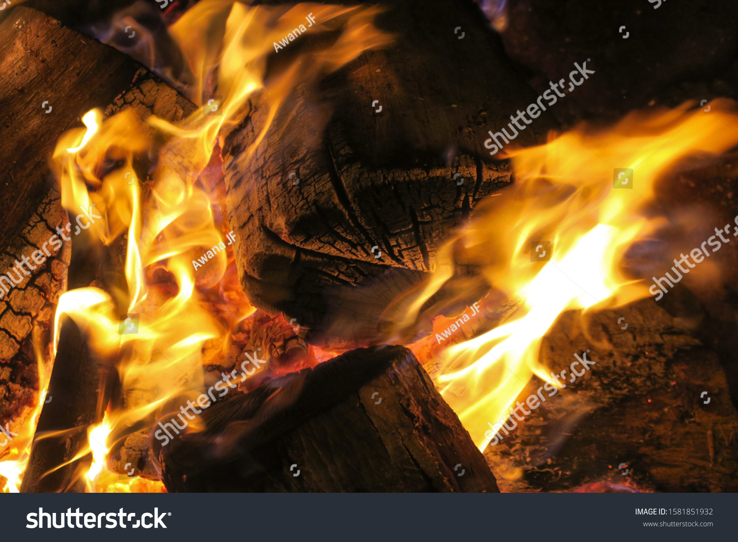 Closeup of burning flames in a camp fire