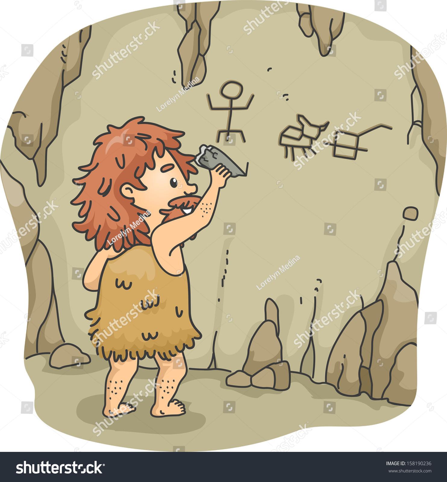 Caveman Stone : Illustration caveman etching figures on walls stock vector