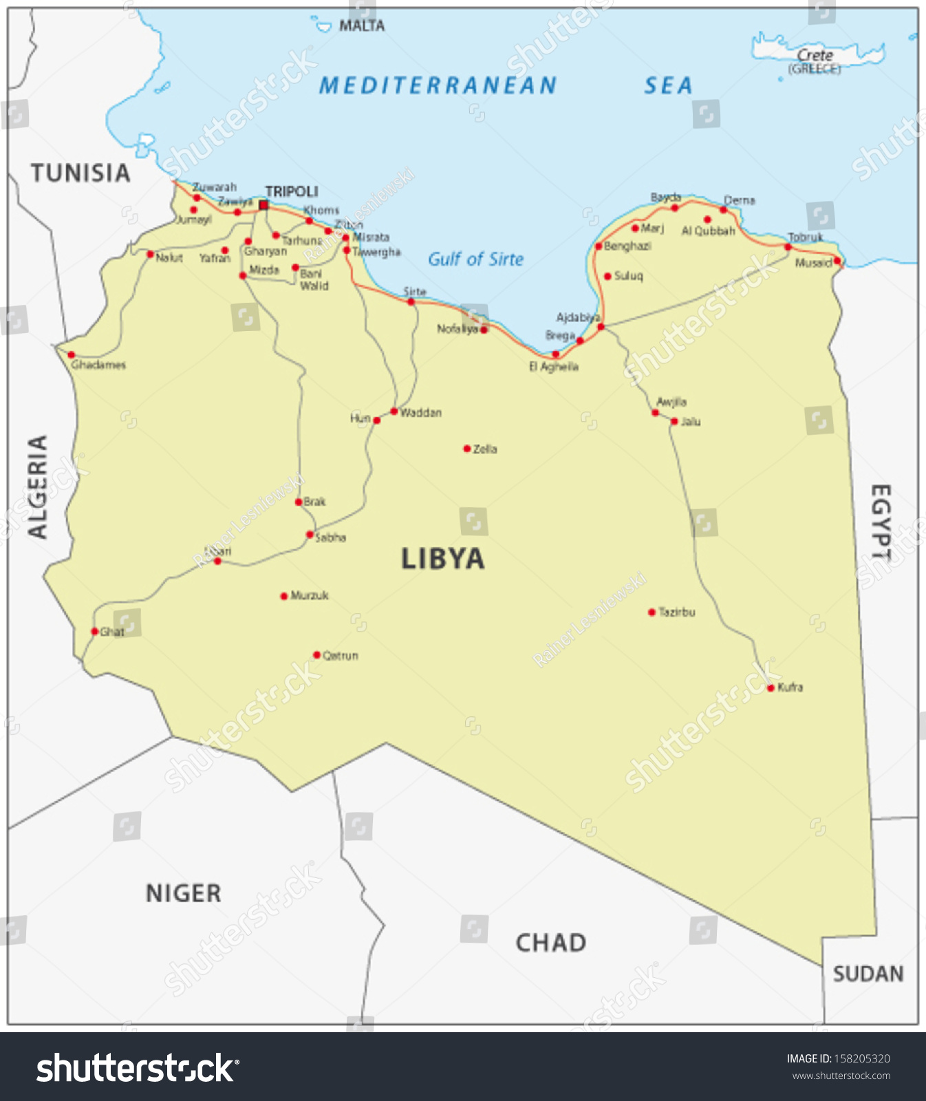 Libya Road Map Stock Vector 158205320 Shutterstock