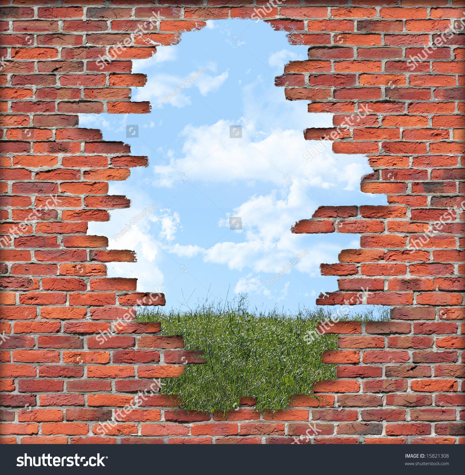 Brick Accent Wall Crumbling: Old Crumbling Brick Wall Front Grassy Stock Photo 15821308
