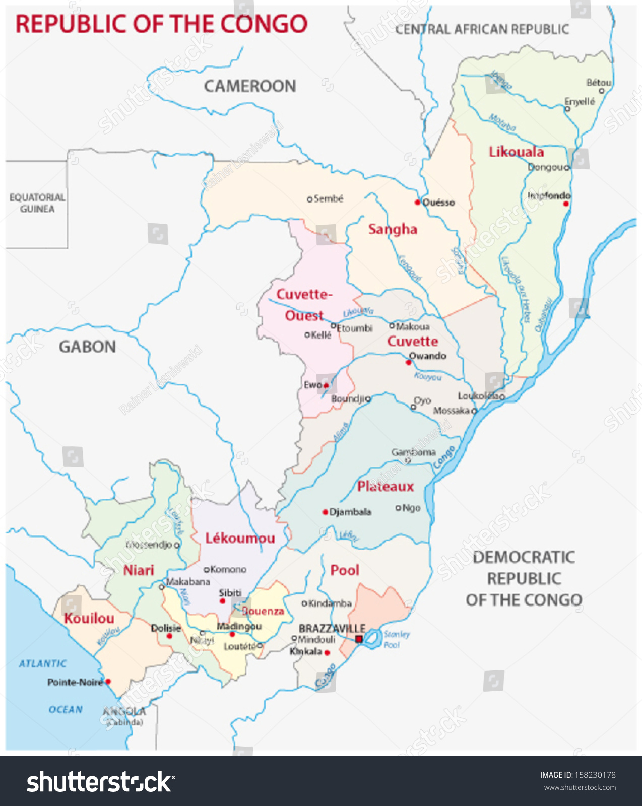 Republic Congo Administrative Map Stock Vector 158230178 Shutterstock