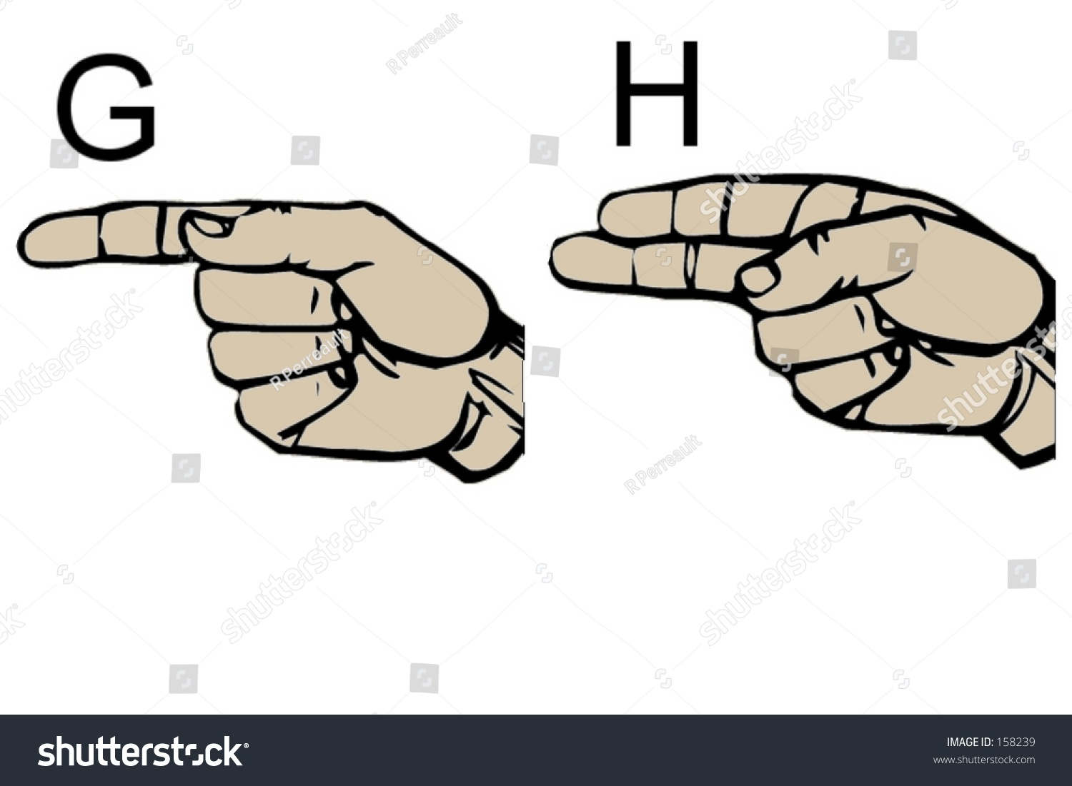 English Sign Language Letters G H Stock Photo Royalty Free