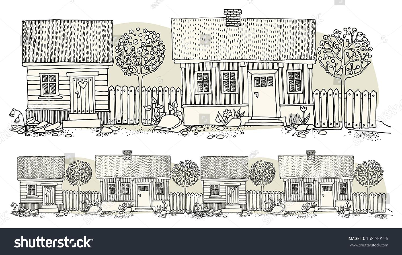 cartoon hand drawing houses stock vector 158240156 shutterstock