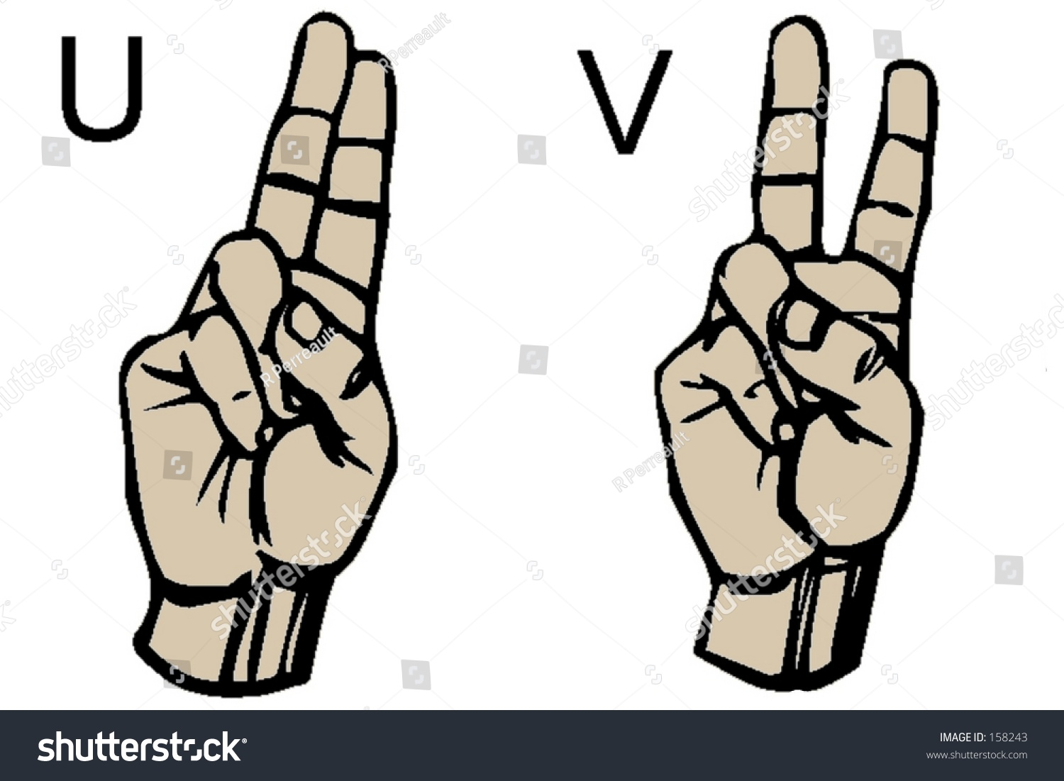 English Sign Language Letters U V Stock Photo Safe To Use