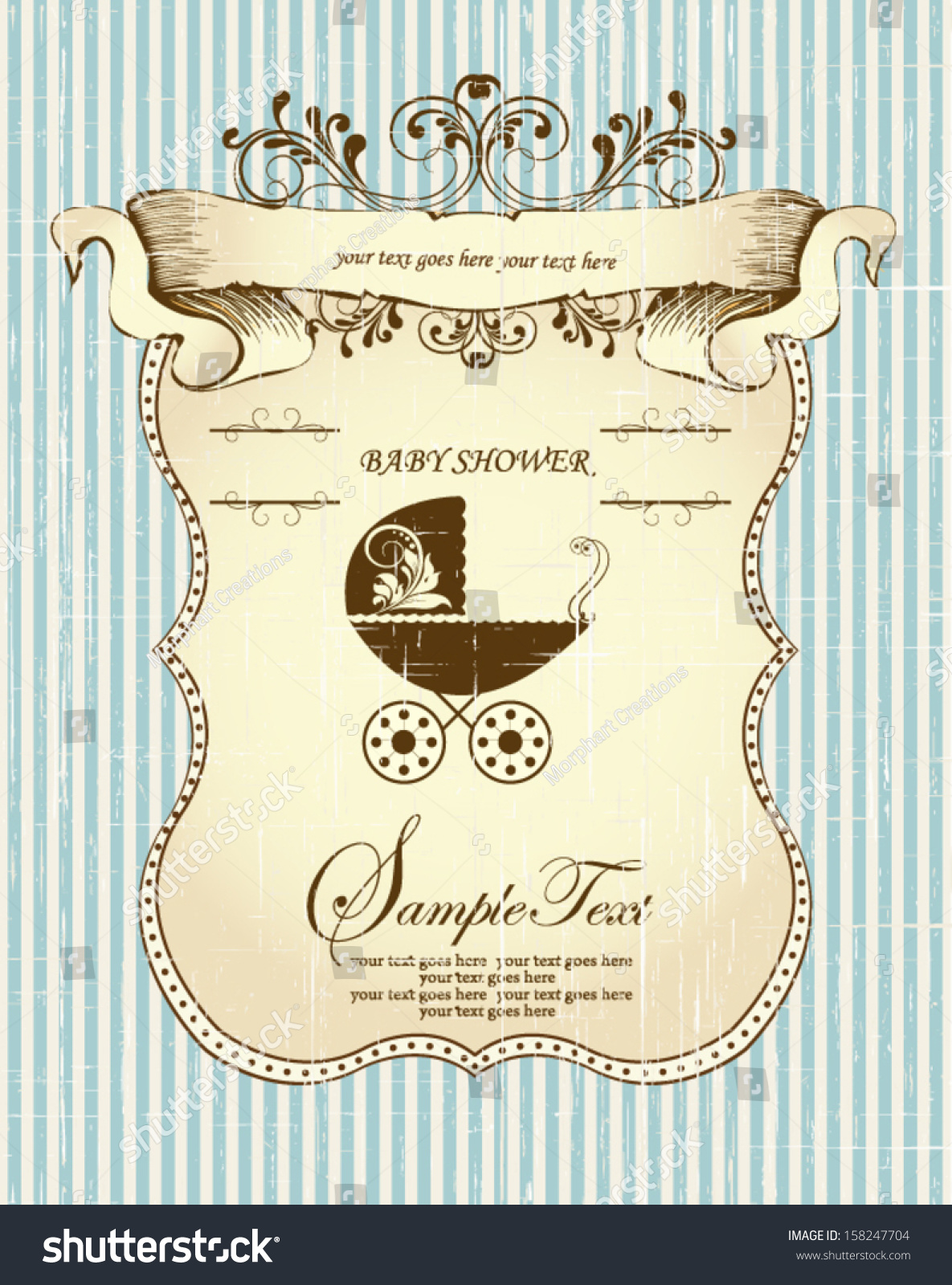 Vintage Baby Shower Announcement Card Vector 158247704 – Vintage Birth Announcement