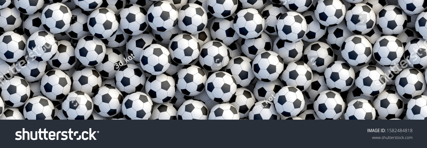 Heap of classic black and white soccer balls 3D Wall Mural