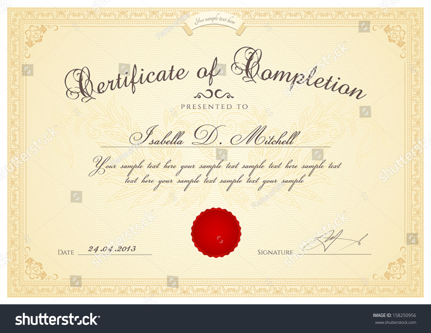 Certificate diploma completion design template background certificate diploma of completion design template background with guilloche pattern watermark yelopaper Choice Image