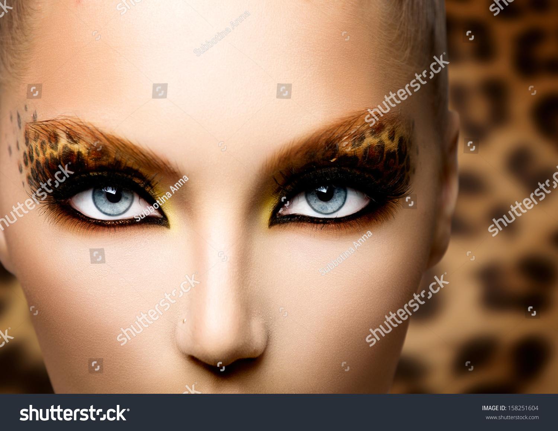 Beauty Fashion Model Girl Holiday Leopard Stock Photo