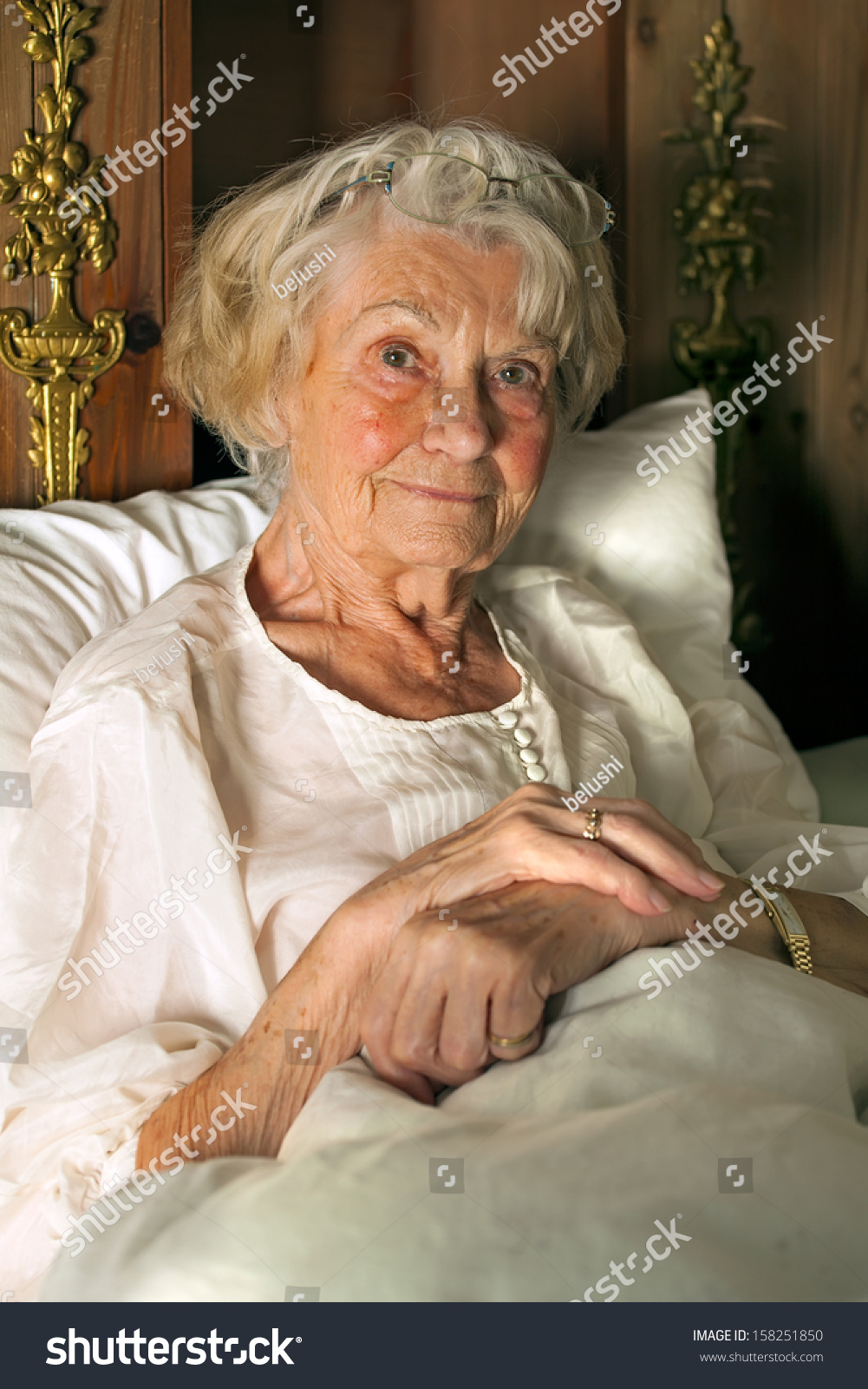 Senior Lady Her Nightgown Bed Sitting Stock Photo Edit Now