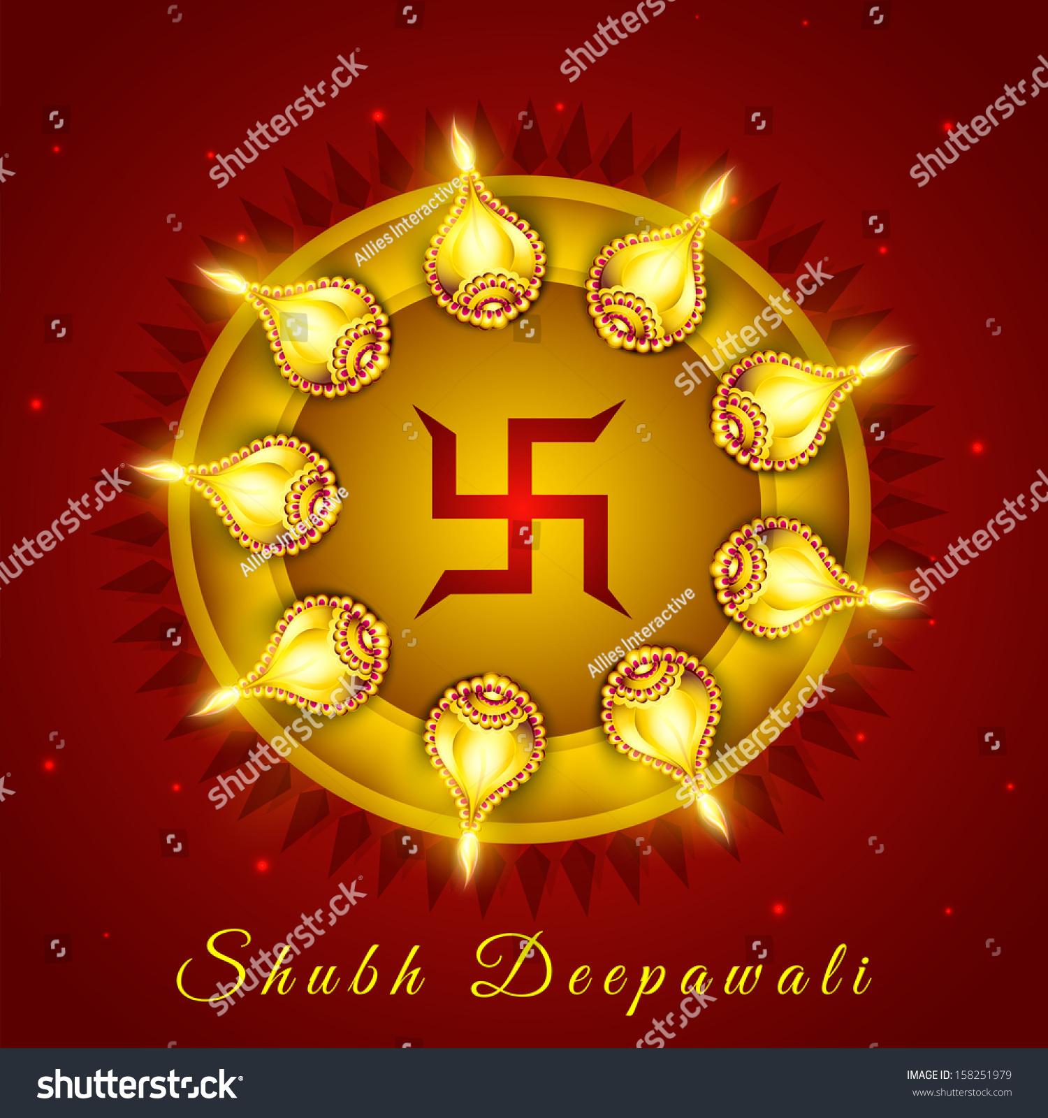 Illuminated Oil Lit Lamps Swastik Symbol Stock Vector Royalty Free