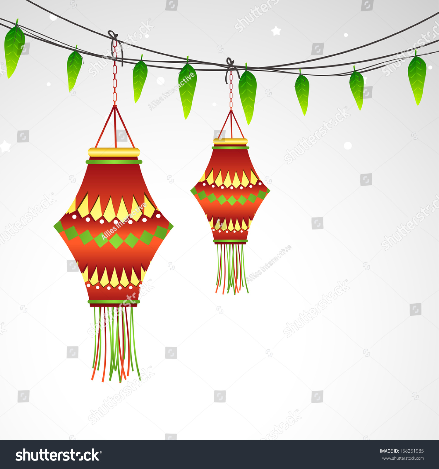 Indian Festival Decoration Indian Festival Happy Diwali Concept Decorative Stock Vector
