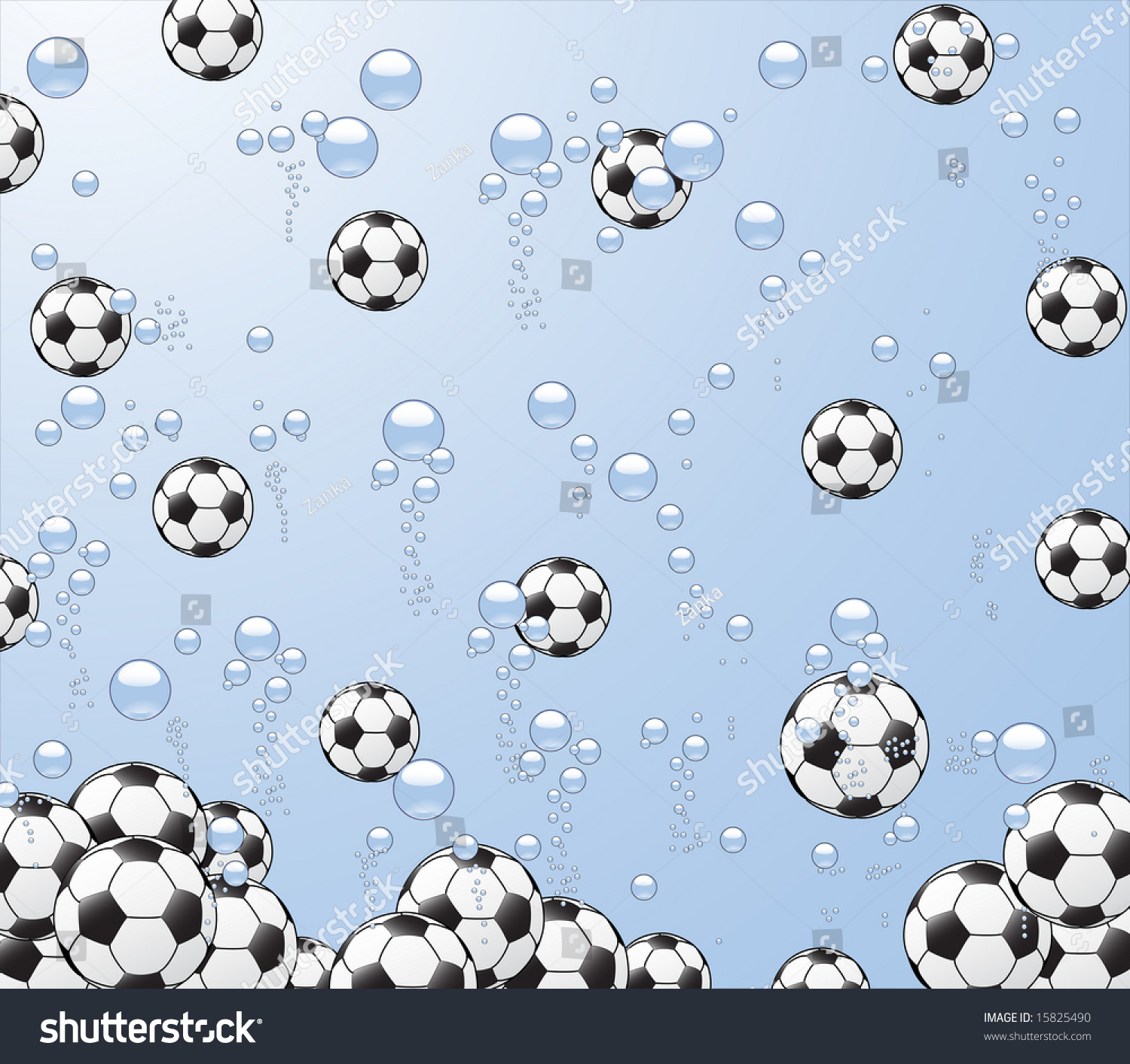 Stock Vector Illustration Of Background With Footballs Under Water