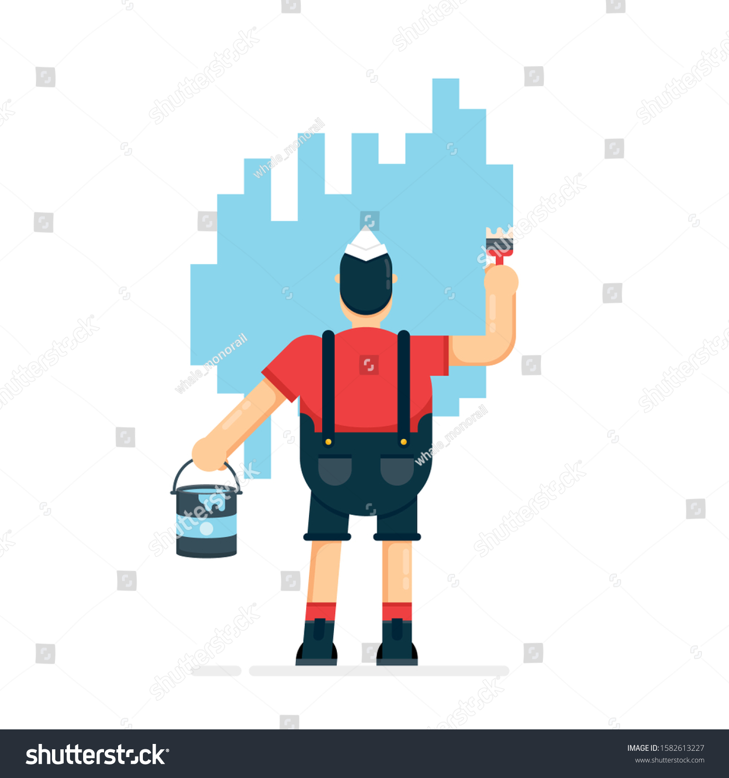 Man Contractor Paints Wall Using Brush Stock Vector Royalty Free 1582613227