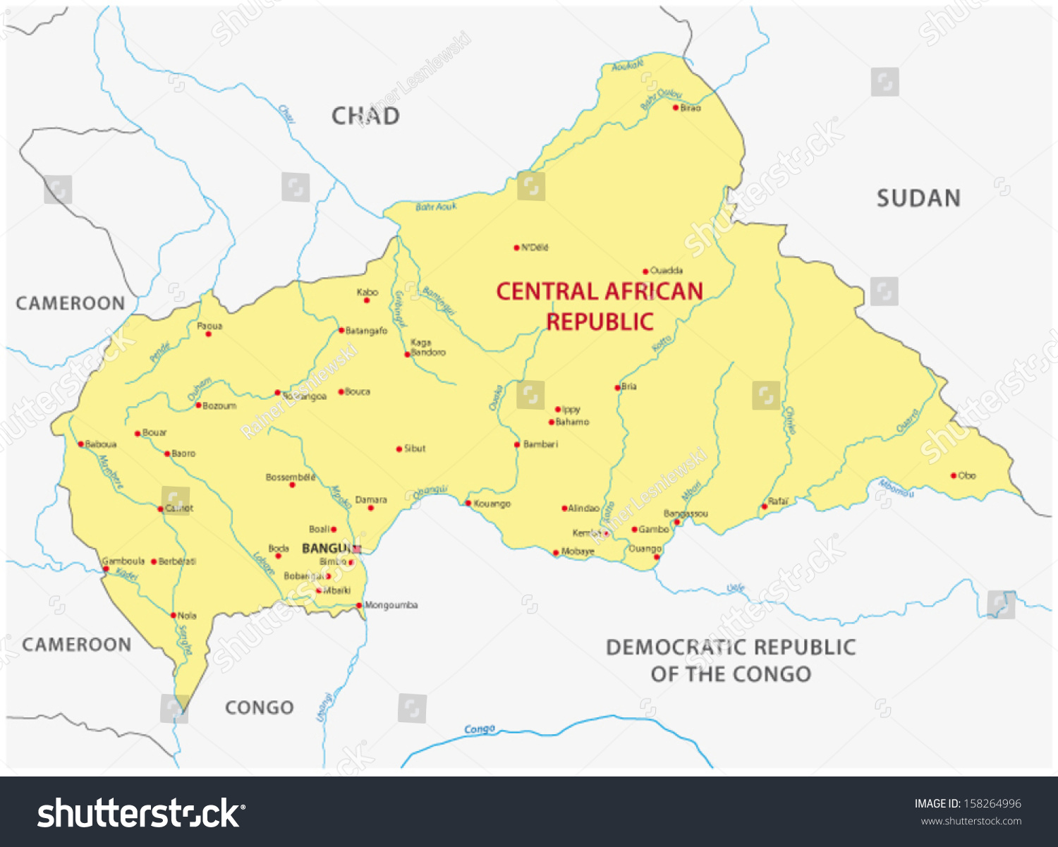Central African Republic Map Stock Vector Shutterstock - Central african republic map