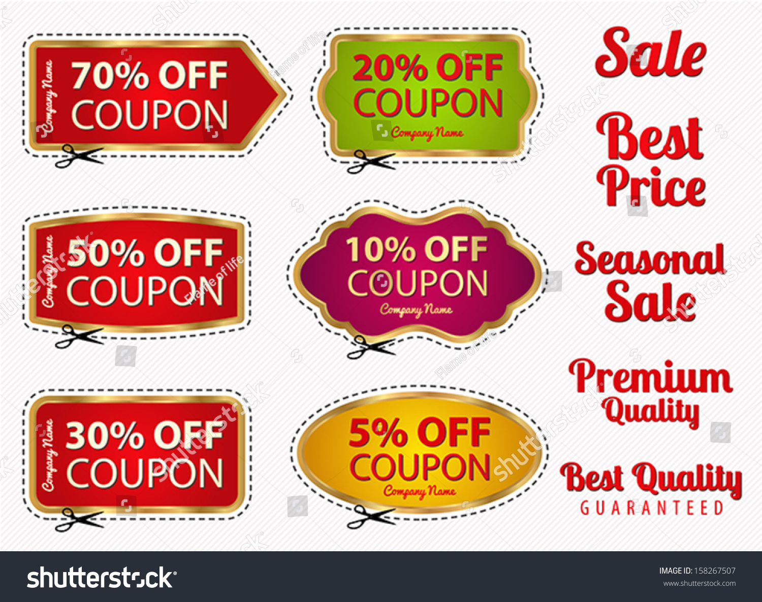 Vector Set Sale Coupon Labels Banner Vector 158267507 – Sale Tag Template