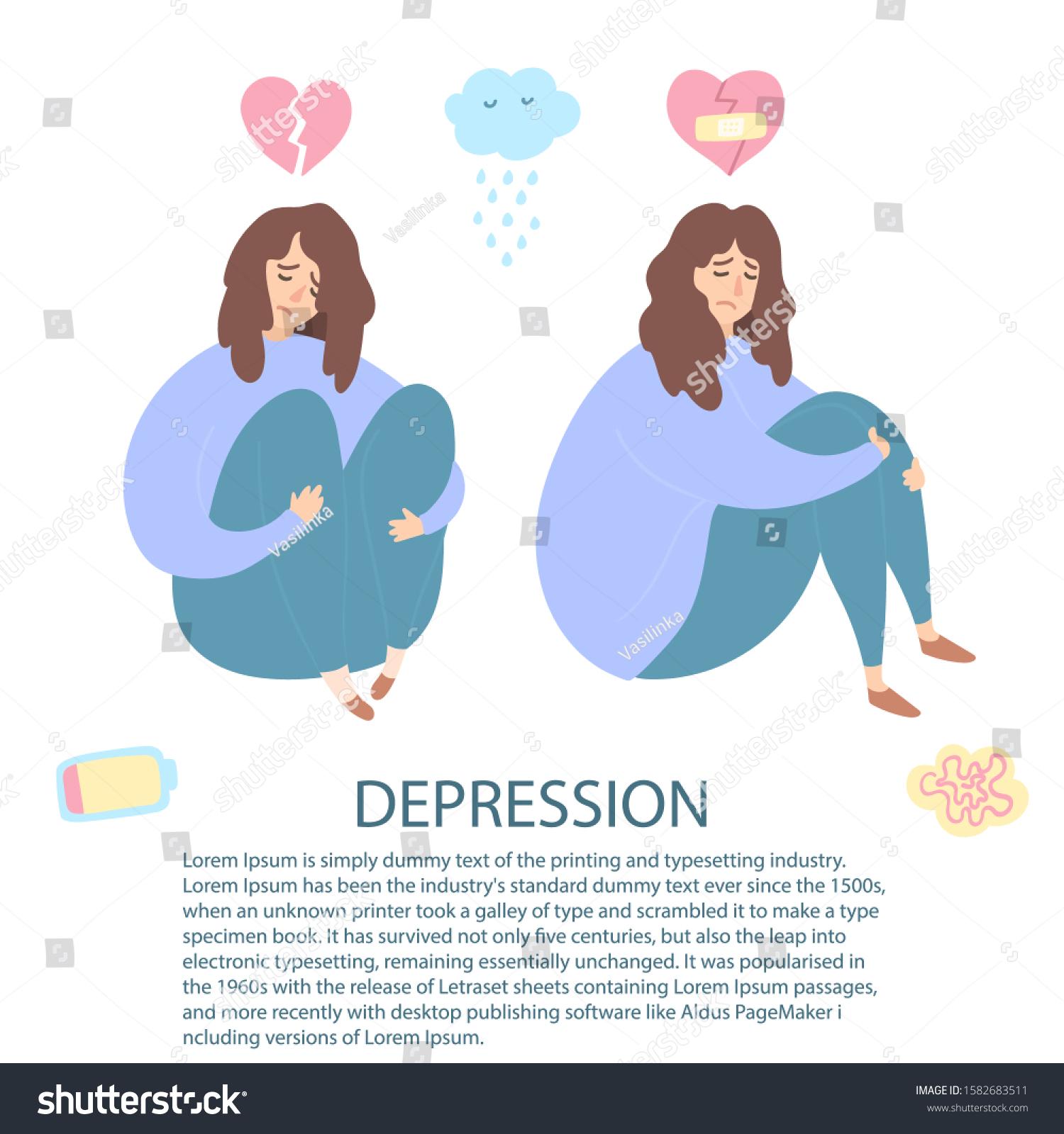 Upset Depressed Women Broken Heart Hug Stock Vector Royalty Free 1582683511