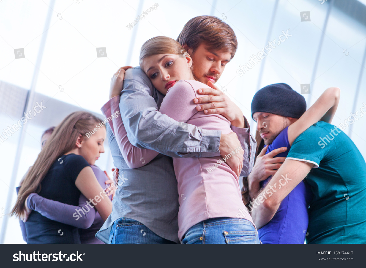 Three Pair People Hugging Each Other Stock Photo 158274407 ...