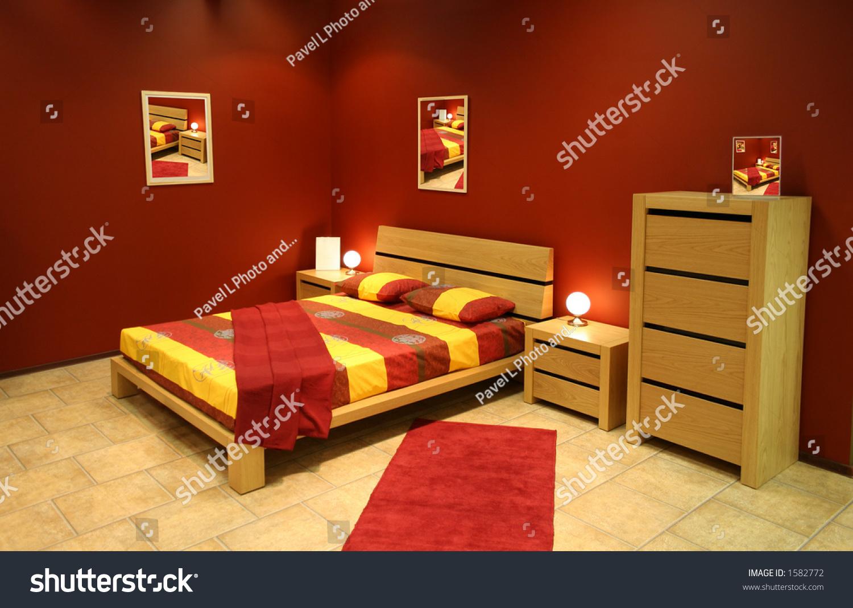Red Modern Bedroom Stock Photo 1582772 Shutterstock