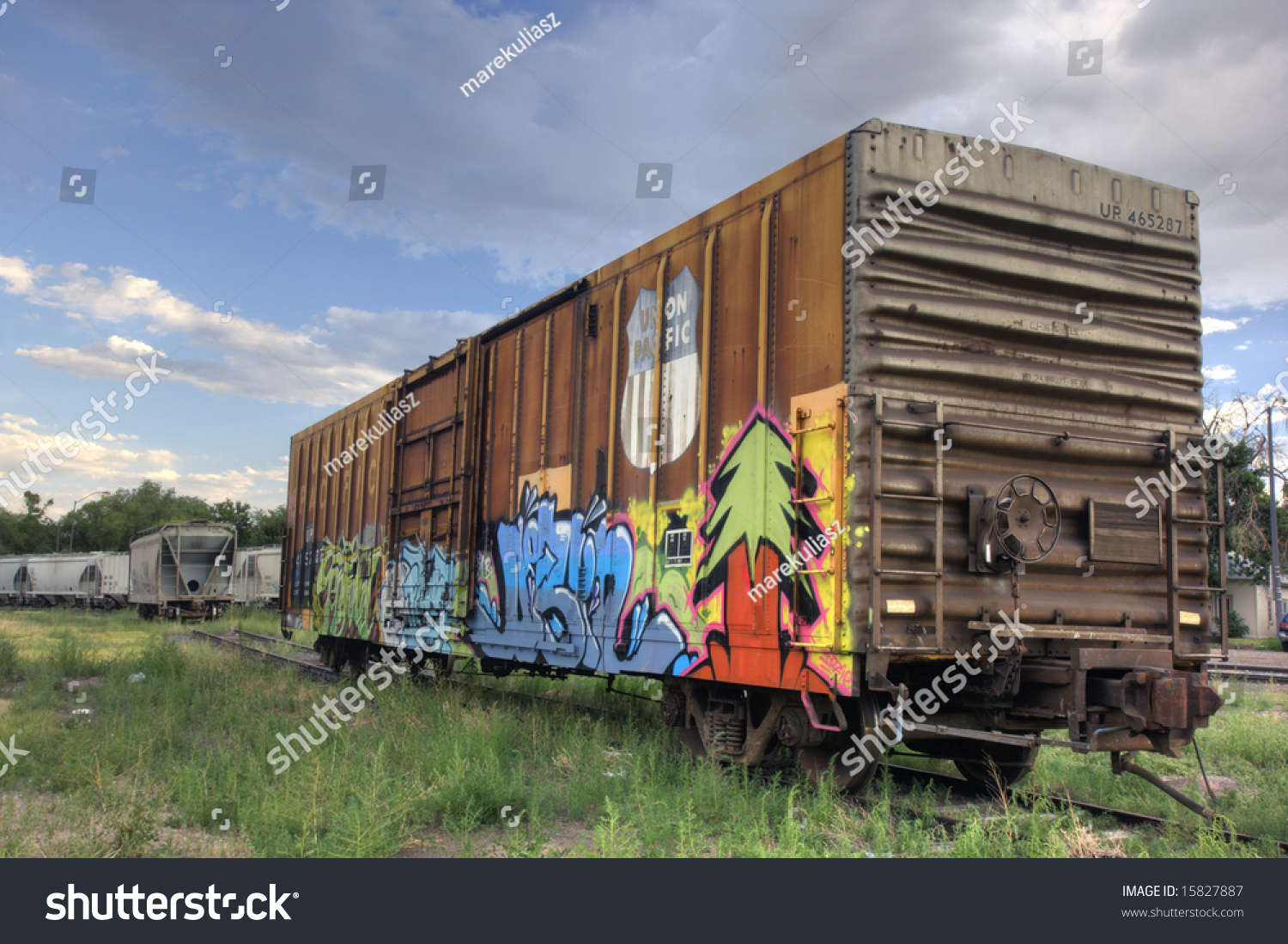 Union Pacific Railroad Car Covered With Graffiti On A