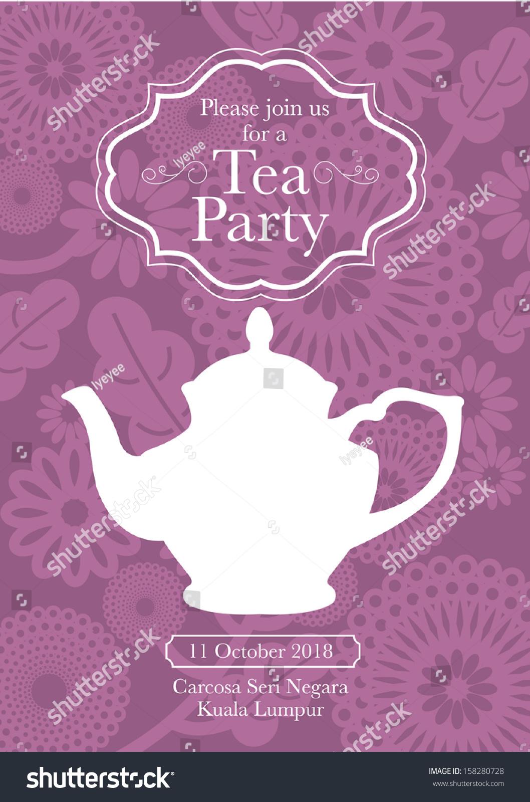 Tea Party Invitation Card Template Vectorillustration Stock Vector ...