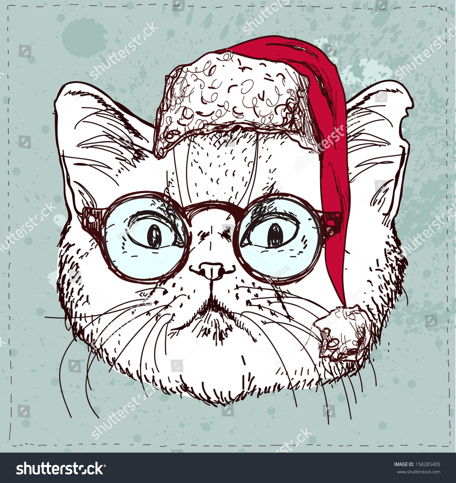 Christmas Hipster Cat Hand Draw Sketchy Stock Vector 158285405