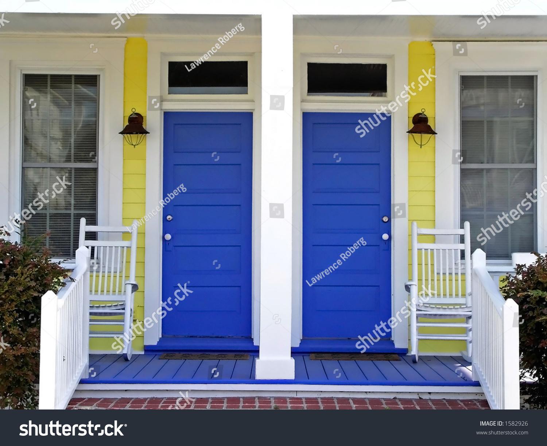Blue Doors Yellow House Stock Photo Edit Now 1582926