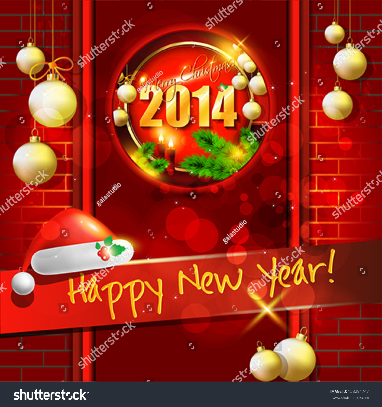 2014 Happy New Year Card Background Stock Vector Royalty Free